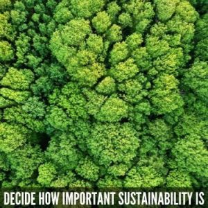 decide how important sustainability is